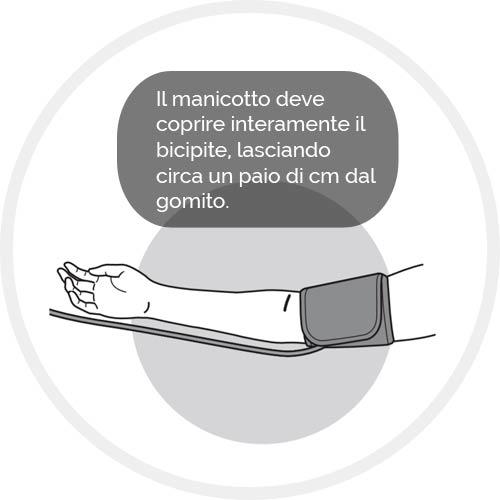 Distendere il braccio in modo rilassato con il manicotto che ricopre il bicipite e a un paio di cm di distanza dal gomito.